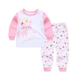 6 conjuntos de Conjuntos de Pijama Do Bebê de algodão Impressão sleepwear Ternos Criança Infantil Casual manga comprida T-shirt + calças recém-nascidos Roupas Q01