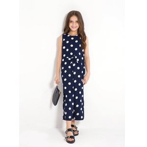 Vieeoease Big Girls Overalls Polka Dot Kids Clothing 2018 Summer Fashion Sleeveless Vest Bow Stripe Jumpsuits EE-808