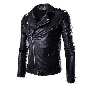WENYUJH весна осень мода куртки мотоцикла PU кожаные Мото куртки мужские косой молнией нагрудные байкер всадник пальто из искусственной кожи D18101006