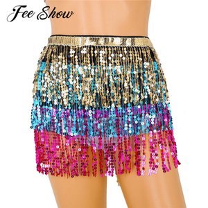 Feeshow Womens Belly Dance Skirt Hip Sequin Tassel Scarf Performance Clubwear Outfits Skirt Bellydance Costume Festival Clothing