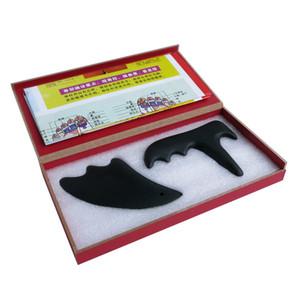 Preto Bian Pedra (novo tipo de massageador + rosto de beleza triângulo gua sha placa) presente guasha gráfico pacote de caixa dura 2 pçs / set