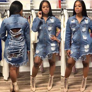 Giacche di jeans autunno primavera sexy donne buco stile boyfriend manica lunga vintage giacca Jean denim cappotto allentato Jean S-3XL