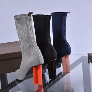Мода новый вязаный носок сапоги размер евро 41 высокие каблуки один Т показать вечер женщины лодыжки насосы с коробкой