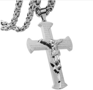 Granny Chic 361L Stainless Steel Silver Black Color Jesus Cross Pendant Necklaces 6mm Heavy Link Byzantine Chain Men Necklace