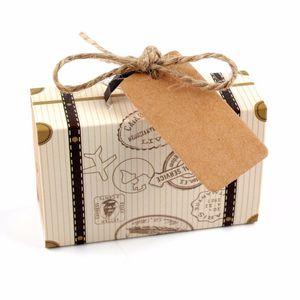 Koffer-geformte Hochzeits-Bevorzugungs-Kasten-nette Geschenkbox mit Muster-Minisüßigkeits-Kasten mit Tagbonbons