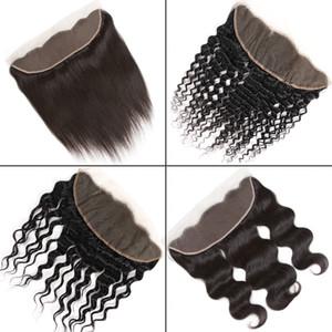 Brésilien Cheveux Vierge 13x4 Dentelle Frontal Fermeture de l'oreille à l'oreille droite péruvienne bouclés Kinky Deep Water Body Silk Top Lace Frontal