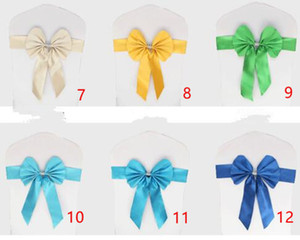 Spandex Wedding Chair Sashes Wholesale Bow Bowknot Chiffon Willow Elastic Cover Organza Chairs Sash Buckle Pink Back Ribbon Free shipping