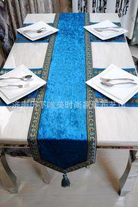 Moda di lusso tovaglie ricamo europeo nappa runner di lusso moderno tavolo da pranzo panno di stoffa letto runner