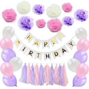 51pcs / set Faixa Feliz Aniversário Papel Tissue Decor Balão Tassel Garland partido
