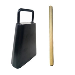 6inch Cast Iron Handled Cowbell Set with Wood Stick Percussion Musical Instruments Black Finish
