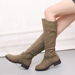 Europeus e Americanos estilo popular das mulheres botas de outono e inverno nova moda grossa calcanhar lateral zíper fivela Martin botas tamanho 34-43