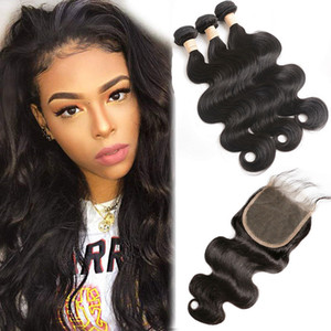 Peruvian Human Hair 4 Pieces lot Bundles With 5X5 Lace Closure Body Wave Lace Closure With Hair Extensions 8-28inch Wefts With Closure