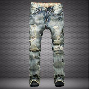 Mens Fashion Jeans Nostalgique Ripped Drapeau Denim Washed Pantalons Pantalons Hommes Streetwear Biker Jeans Pantalons Distressed