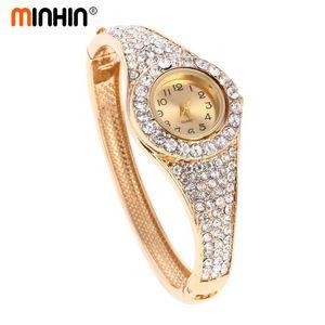 Moda Altın Kaplama Saatler Lüks Rhinestone Bilek Bileklik Paslanmaz Çelik Bilezik Saatler Kadın Kuvars Kol Saati