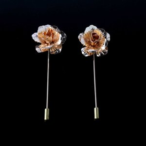 British Style Gold Flower Brooches Pins for Men Suit Clothes Backpack Hat Beautiful Lapel Pin Wholesale Metal Borach Women Fashion Breastpin