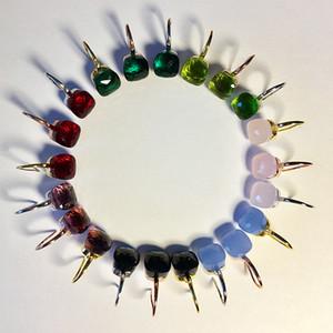 BL Couleurs cristal naturel boucle d'oreille paris design laiton matériel plaqué or carré goujons de pierre gemme pour femmes et fille cadeau bijoux de mode