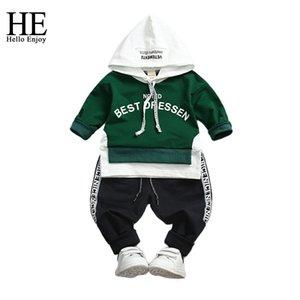 HE Hello Enjoy Boy Sport Suits Ropa para niños Primavera otoño Letteer de manga larga Sudadera con capucha Sudor + Pantalones Ropa para niños pequeños