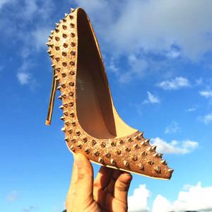 2018 Moda Sapatos de Fundo Vermelho Nova Chegada Sapatos de Salto Alto / Sapatos de festa Super Stiletto Rebites de Salto Alto Bombas tamanho da UE 34 a 45