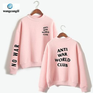 2018 ANTI WAR WORLD CLUB Nouveau Design Sweat à capuche oversize à col roulé Sweatshirts Femmes / Hommes Sweats à capuche Harajuku Sweatshirt Casual xxxxl