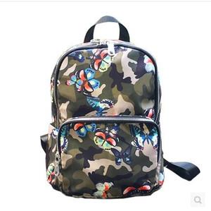 뜨거운 브랜드 패션 디자인 방수 고품질 나일론 다채로운 나비 배낭 소년과 소녀 학교 가방 방수 이중 어깨 가방