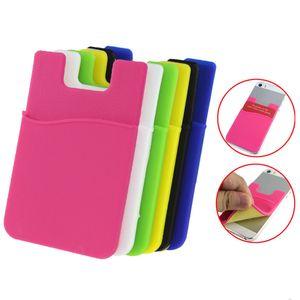 Carte de téléphone Support téléphone portable Silicone Wallet ID Case Credit Card Porte-poche bâton sur adhésif 3M avec sac OPP