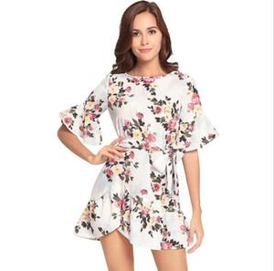 Kadınlar Yaz Elbise Fırfır Bohemian Çiçek Baskı Plaj Boho Elbise Seksi Ekip-Boyun Kısa Kollu Mini Elbise