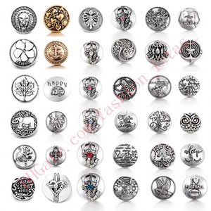 36 estilo Noosa Chunks Alloy Snap Button Jewelry Búho / Perro DIY Snap Fit 18mm Botones a presión Pulseras Brazaletes
