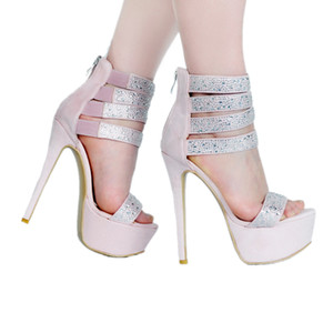 Kolnoo 2018 New Designed Handmade Women Ladies High Heel Platform Sandals Sweet Style Sexy Glitter Ankle Strap Party Evening Club Shoes A004