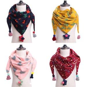 Herbst und Winter neue Kinder Schals für Jungen und Mädchen Dreiecke Cartoon gedruckt Doppelschicht Baumwolle Quasten zu halten warme kalte Kragen