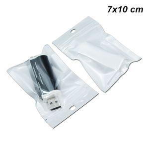 200pcs cm 7x10 / Lot Voltar Branco autoadesivo USB de armazenamento Cabo sacos de zíper fechadura electrónica Produtos organizadores Suporte com Pendure Buraco Polybag