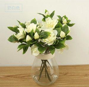 Simulación de una sola rama gardenia flor falsa boda decoración de la sala de estar en casa