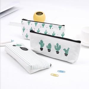 Sac à crayons Cactus Pastorale Bandage Toile Crayon Case plante Trousse À Maquillage Zipper Cosmetic Pouch 21 * 9 cm