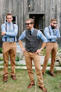 2020 Country Wool Groom Westen Hochzeit Brown Tweed Custom Made Groomsment Kleidung Slim Fit Burgund grau Hochzeitsgäste Party Westen