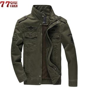 QIQICHEN 2018 Armée Veste Hommes Plus La Taille 6XL Coton Stand Col Mâle Casual Vol de Veste Jaqueta masculina