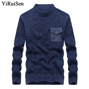 Yiruisen Марка мужские трикотажные пуловеры свитера с карманами О-образным вырезом мода Свитер для мужчин зимняя одежда тянуть Homme 2017 #b007
