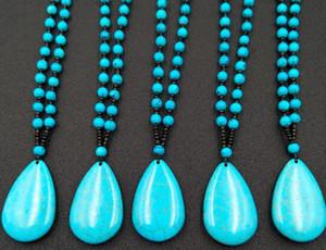 Moda nuovi prodotti naturali turchese collana pendente perline per uomo e donna collana di perle regali sono in vendita
