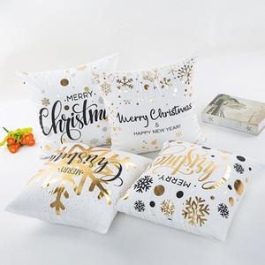 Beddingoutlet Bronzing Christmas Fodera per cuscino oro stampato Fodera per cuscino decorativa Fodera per divano Fodera per auto morbida