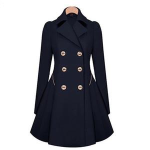 Abrigo de invierno largo de solapa de la solapa de las señoras de doble botonadura Outwear Slim Fit Dust Coat