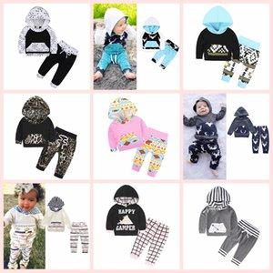 INS Kinder Kleidung Set Baumwolle Floral gestreiften Anzug mit Mütze Hut Outfits Baby Sets Langarm Kinder Tier Hoodies Hosen 40 Styles AAA125