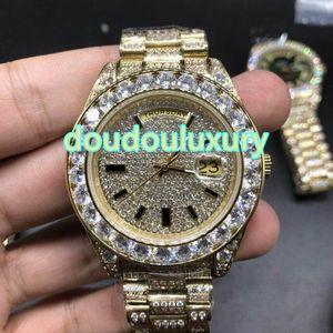 Gli orologi da uomo all'ingrosso con diamanti e diamanti, la moda in stile rap hip-face color oro, orologi orologi automatici impermeabili