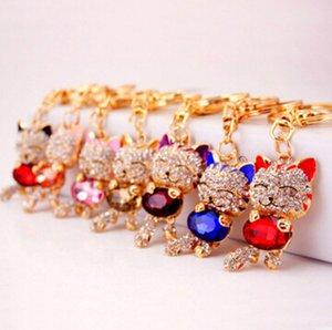 7 colori fortunato sorriso gatto di cristallo strass portachiavi portachiavi titolare borsa borsa per auto regalo di natale portachiavi gioielli llaveros