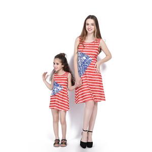 Nova Mãe Filha Matriz Vestidos Vermelho e Branco Listrado Denim Splice Sem Mangas Na Altura Do Joelho-comprimento Vestido de Praia Simples
