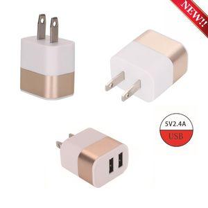 Oro Dual USB del metal recorrido de la pared del cargador del hogar del adaptador 2.1A de carga rápida para el teléfono 5.6.7 Todos los teléfonos inteligentes