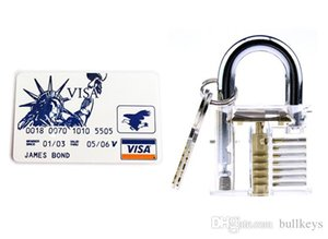 5 قطع مجموعة بطاقات الائتمان قفل قفل مع الشدات الشدات أدوات الأقفال + كوتاواي شفافة مرئية 7 دبابيس قفل الممارسة قفل