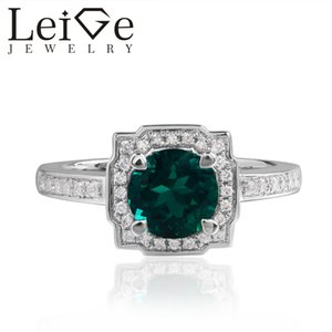 Leige Jewelry Lab Emerald Rings Round Cut Halo Wedding Rings For Woman 925 Sterling Silver May Birthstone