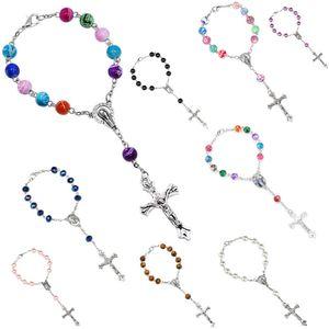 2018 vente chaude 9 Couleurs Coloré Acrylique Perles Catholique Chapelet Bracelet Femmes Religieux Jésus croix Crucifix Bracelet drop shipping