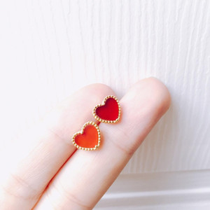 earrings heart shape white 18k Jewelry brand for women gift s925 gold silver plated