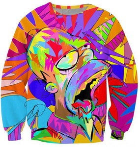 Wholesale Free Shipping New arrivals men cartoon 3d sweatshirts funny print animation character casual hoodies autumn tops
