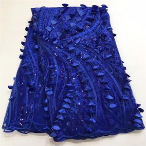 Madison Yüksek Kalite Düğün Parti Elbise Dantel Kumaş Mercan MAVI Payetler Fransız Dantel Kumaş Aplike Afrika Tekstil Dantel Kumaş