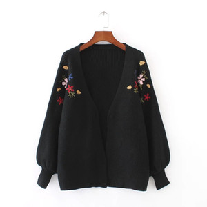OLGITUM 2018 Autumn Winter Cardigans Sweater Women Lantern Sleeve Sweater Floral Embroidery Knitted Cardigans For Female